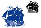 Brigantine sail ship — Stock Vector
