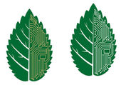 Green leaf with computer and motherboard elements — Stockvektor