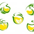 Tea symbols with lemon and green leaves — Stock Vector
