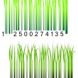Bar code with fresh green grass — Stock Vector