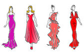 Womens in evening dresses — Stock Vector