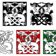 Celtic ornament with wild dogs - Imagen vectorial