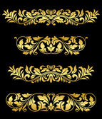 Retro gold floral elements and embellishments — Stock Vector