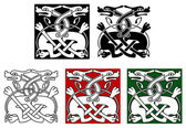 Celtic ornament with wild dogs — Stock Vector