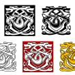 Dogs ornamental pattern in celtic style - Stock Vector