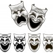 Tragedy and comedy theater masks - Stock Vector