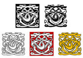 Dogs ornamental pattern in celtic style — Stock Vector