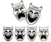 Tragedy and comedy theater masks — Stock Vector