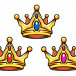 Stock Vector: Colden royal crowns with jewelry elements