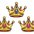 Colden royal crowns with jewelry elements — Stock Vector