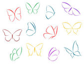 Butterflies color silhouettes — Stock Vector