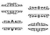 Marco de cabecera con elementos florales retro — Vector de stock