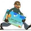 Hacker or thief stealing credit card — Stock Vector