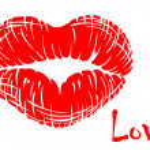 Red lips in heart shape — Stock Vector