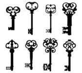 Old keys set in retro style — Stock Vector