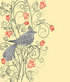 Abstract floral background with beautiful bird — 图库矢量图片