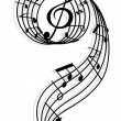 Royalty-Free Stock Vector Image: Musical curly elements with clef and notes