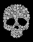 Human skull in floral style — Stock Vector