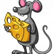 Funny cartoon mouse with cheese — Stock Vector