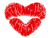 Red lips print in heart shape — Vettoriale Stock