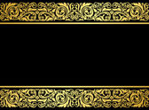 Floral border with gilded elements — Stock Vector