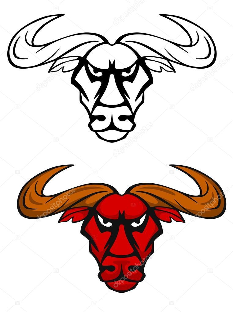 攻击牛头吉祥物 — 图库矢量图片 #23337396