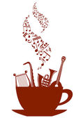 Musical cup of tea or coffee — Stock Vector