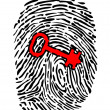 Security concept with fingerprint and key — Vector de stock #23968351