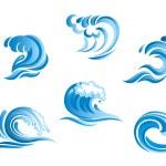 conjunto das ondas do mar azul surf — Vetorial Stock