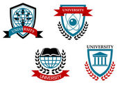 Set of university and education emblems — Stock Vector
