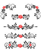 Roses with floral embellishments — Stock Vector