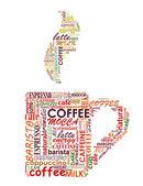 Taza de café con nube de etiquetas — Vector de stock