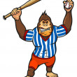 Monkey baseball player — Stock Vector