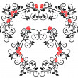 Roses on floral frame and border — Stock Vector