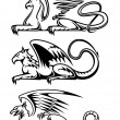 Stock Vector: Medieval gryphons set