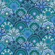 Seamless pattern with blue circles and floral elements — Stock Vector