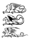 Medieval gryphons set — Stock Vector