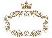 Elegant royal medieval frame with crown — Stock Vector