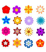 Set of flower blossoms and petals — Stock Vector