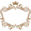 Retro frame with royal crown and flowers — Stock Vector #26217929