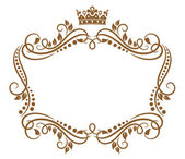 Retro frame with royal crown and flowers — Stock Vector