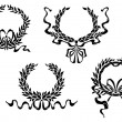 Heraldic laurel wreaths with ribbons — 图库矢量图片