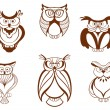Stock Vector: Set of cartoon owl birds