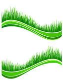 Golven van verse lente groen gras — Stockvector