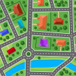 Map of little town or suburb village — Imagen vectorial