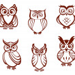 Set of cartoon owls — Stock Vector