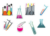 Laboratory and test tubes set — Stock Vector