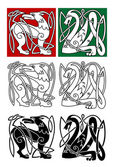 Abstract animals in celtic style — Stock Vector