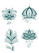 Set of abstract persian or indian flowers — Stock Vector