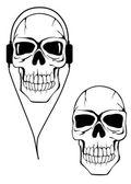 Cráneo humano peligro en auriculares — Vector de stock